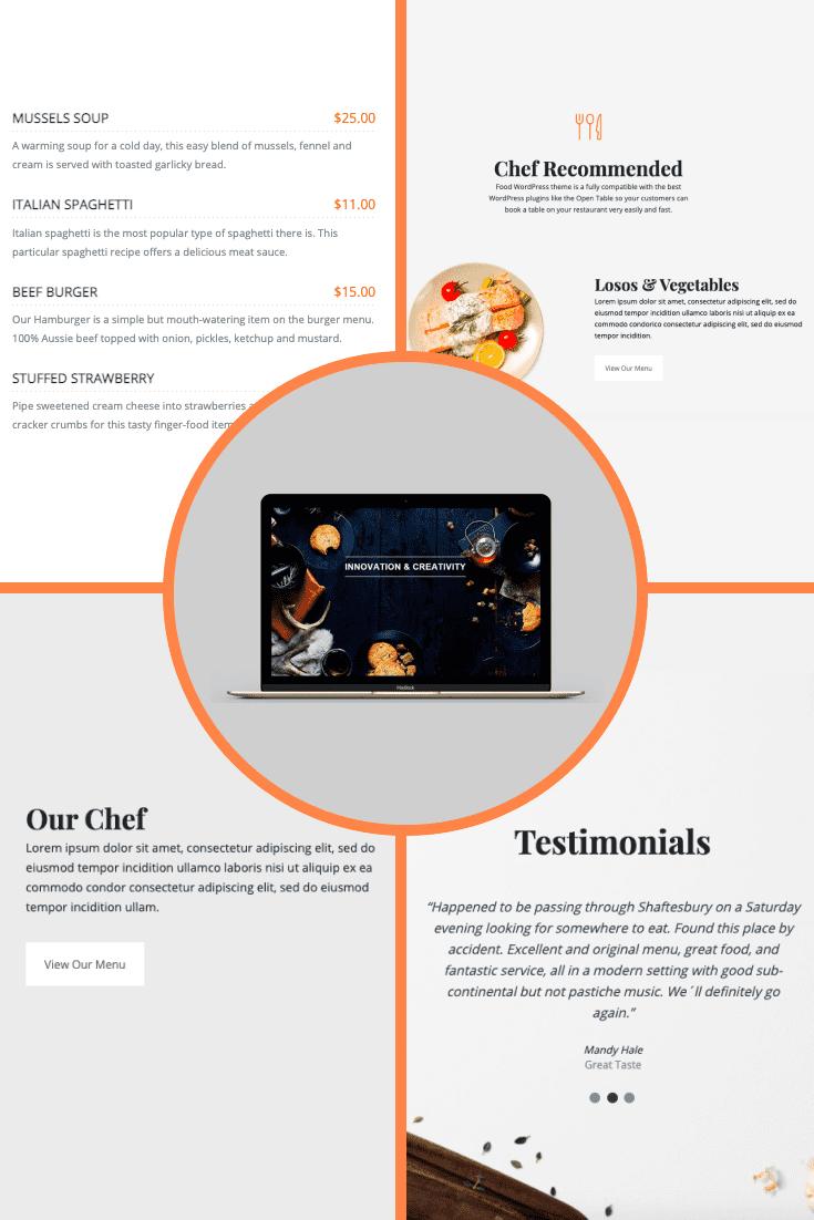 Food WordPress Theme - $25. Collage Image.