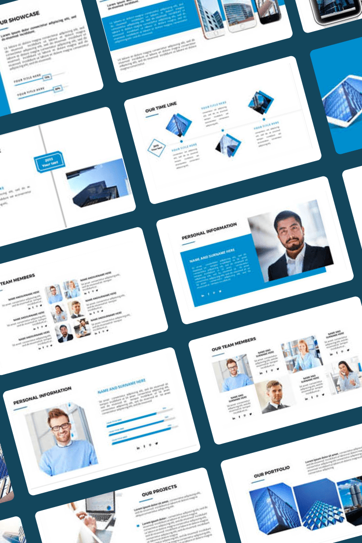 Technology Powerpoint Templates in 2021. Ultimate Powerpoint Bundle with 1600 Unique Slides. Collage Image.