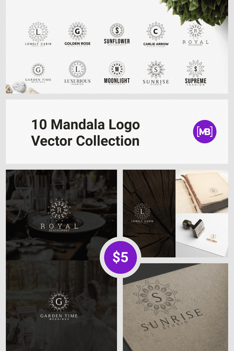 10 Mandala Logo Vector Collection. Collage Image.