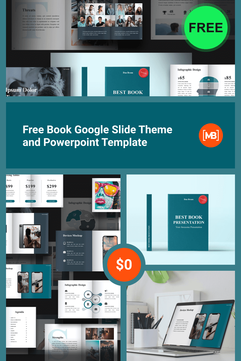 Free Book Google Slide Theme and Powerpoint Template. Collage Image.