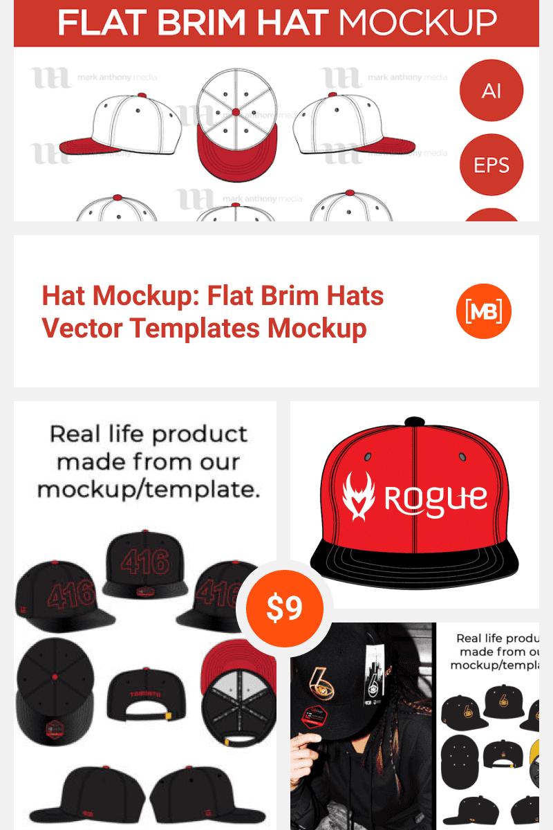 Hat Mockup: Flat Brim Hats Vector Templates Mockup. Collage Image.