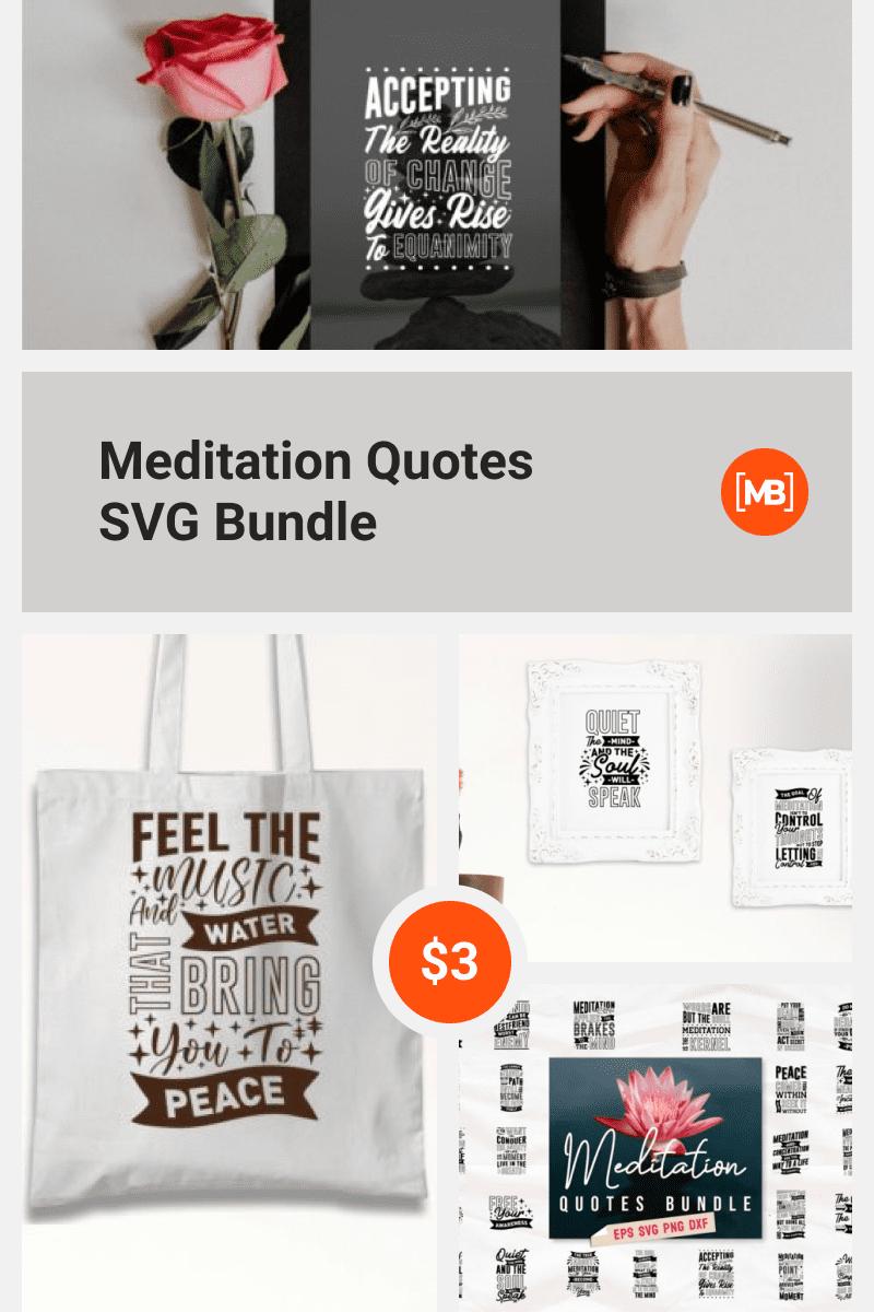Meditation Quotes SVG Bundle. Collage Image for Pinterest.