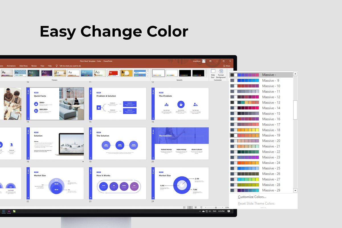 Easy Change Color Pitch Deck & Presentation Animated Smooth Template.