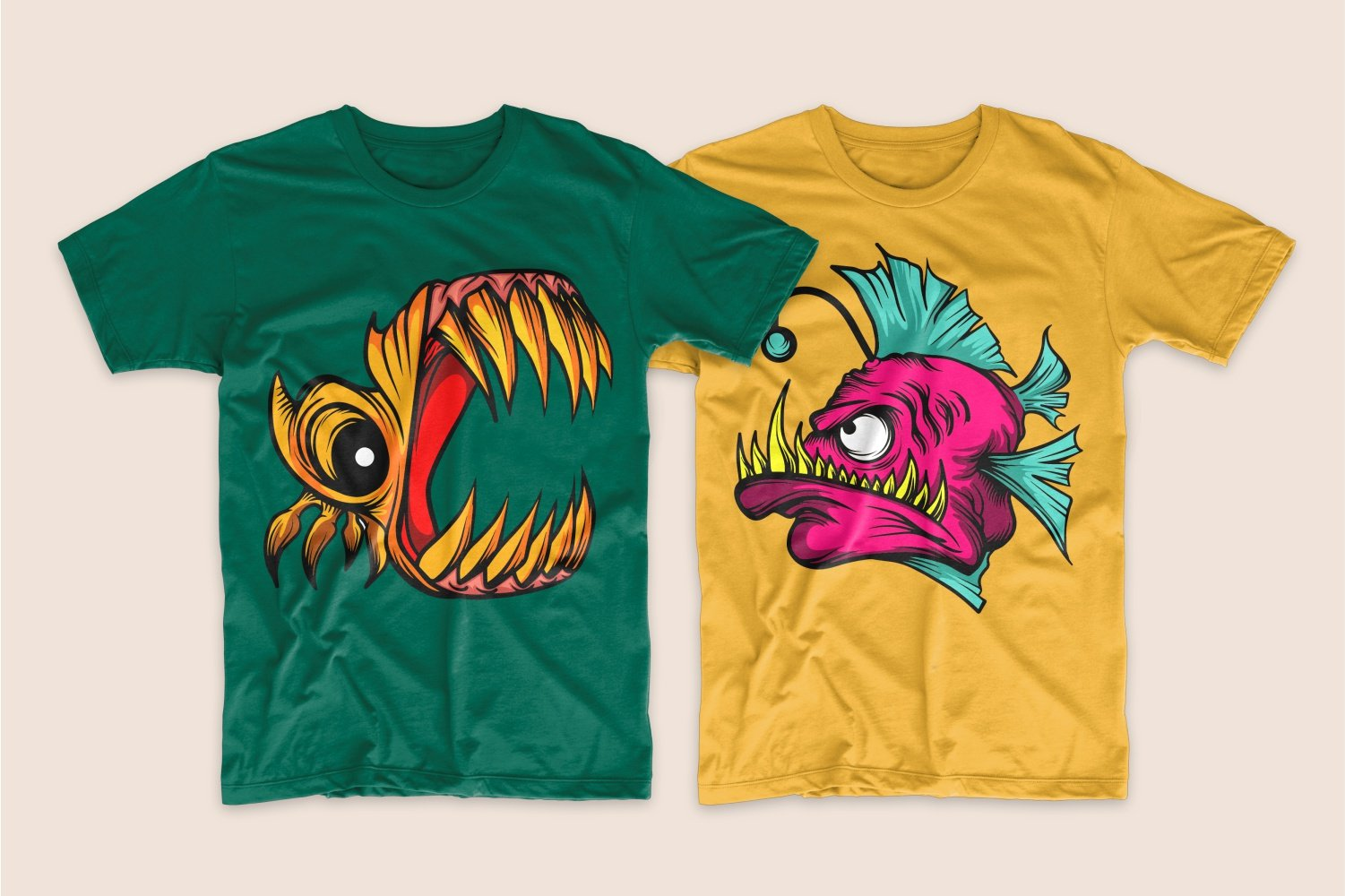 Green T-shirt with monster fish and yellow T-shirt with raspberry piranha.