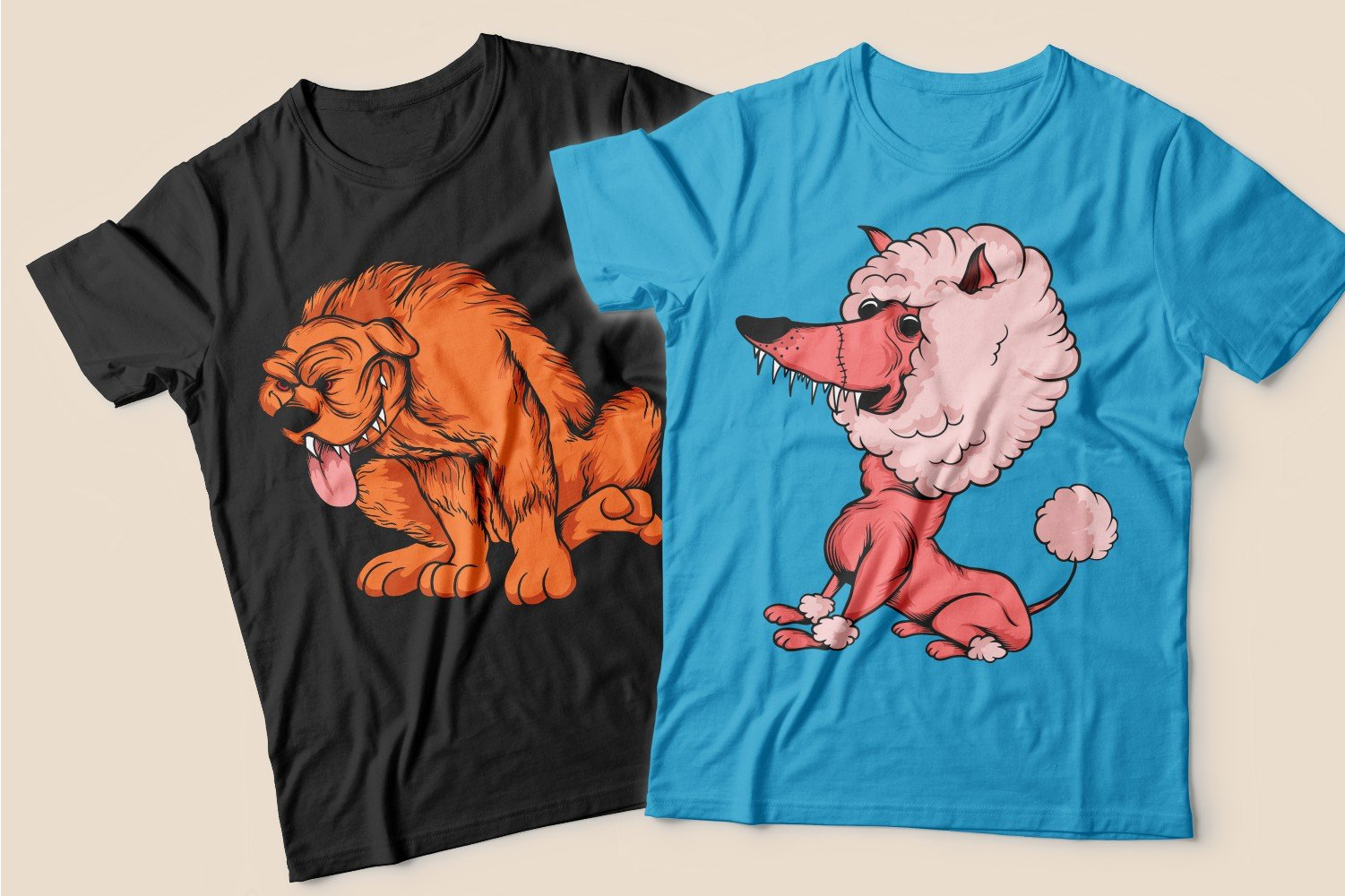 Two T-shirts: black with a sly red dog and blue with a pink poodle.