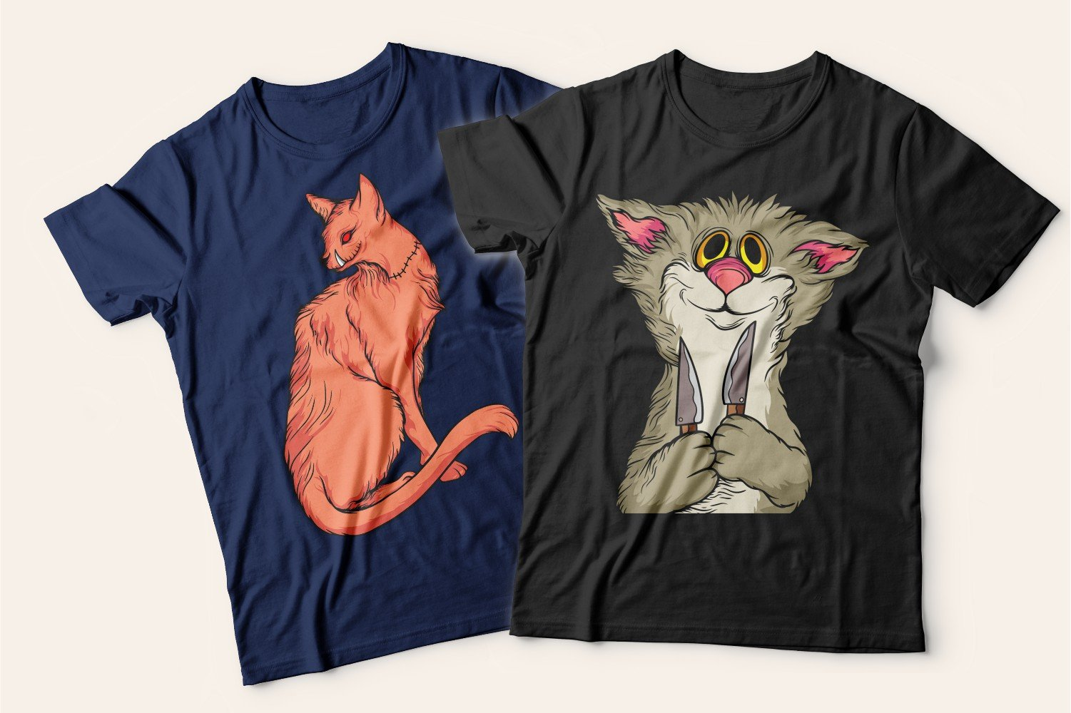 Two T-shirts with cats: one blue with a ginger cat, the other black with a gray hungry cat.