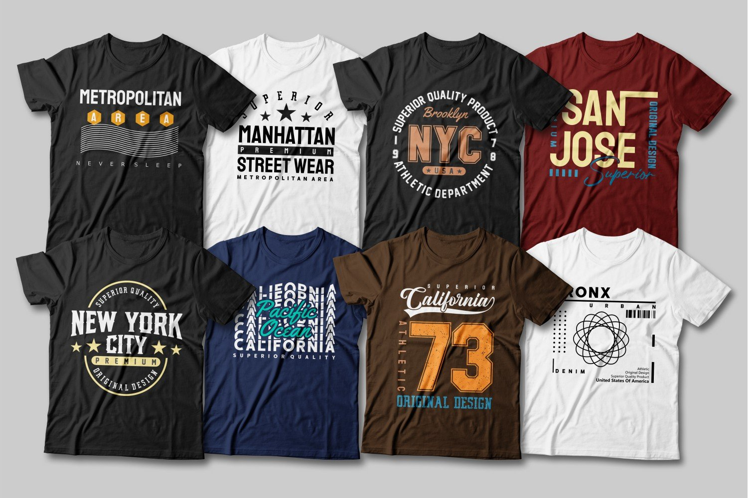 Multi-colored T-shirts with a variety of slogans from the most popular places in New York.