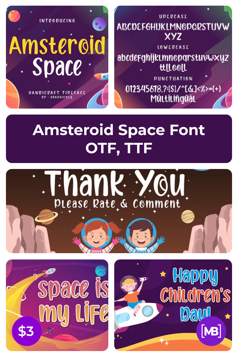 Amsteroid Space Font OTF, TTF. Collage Image.