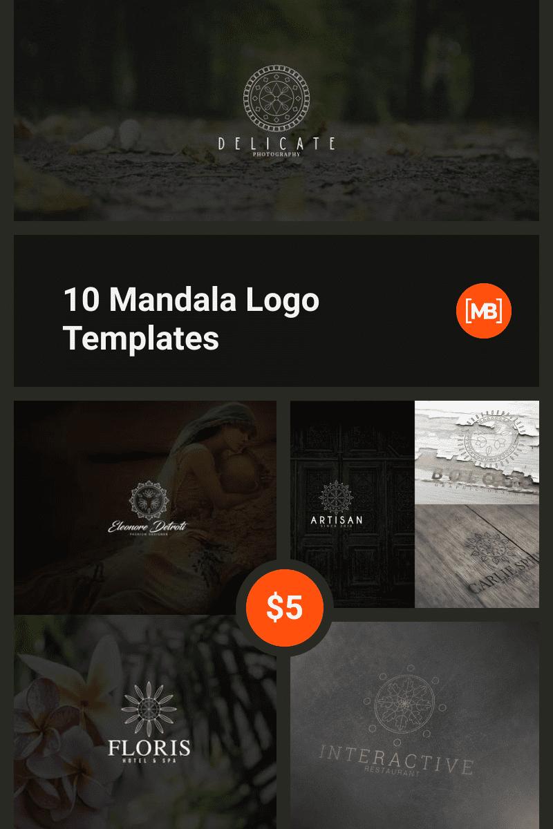 10 Mandala Logo Templates. Collage Image.