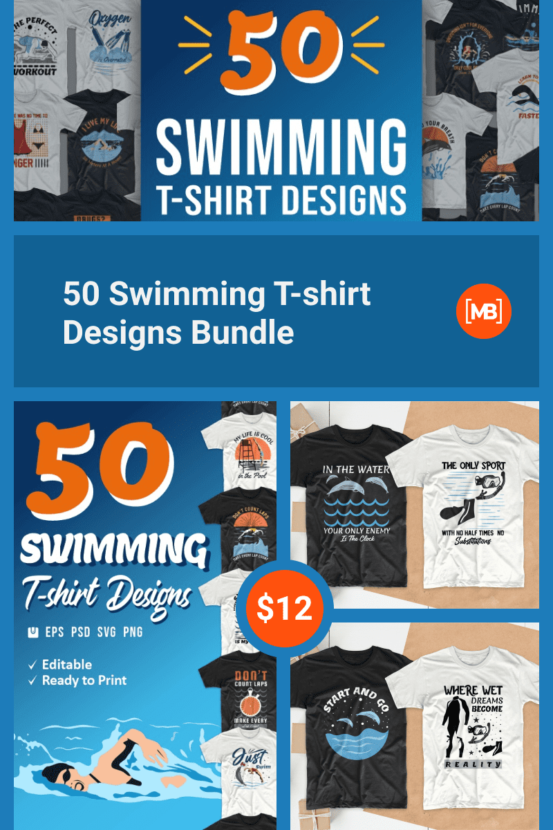 50 Swimming T-shirt Designs Bundle. Collage Image for Pinterest.