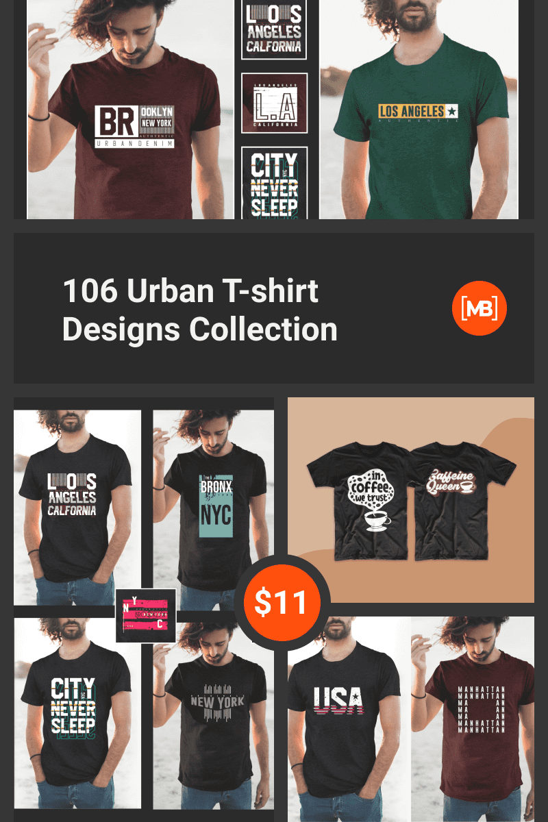 106 Urban T-shirt Designs Collection. Collage Image for Pinterest.