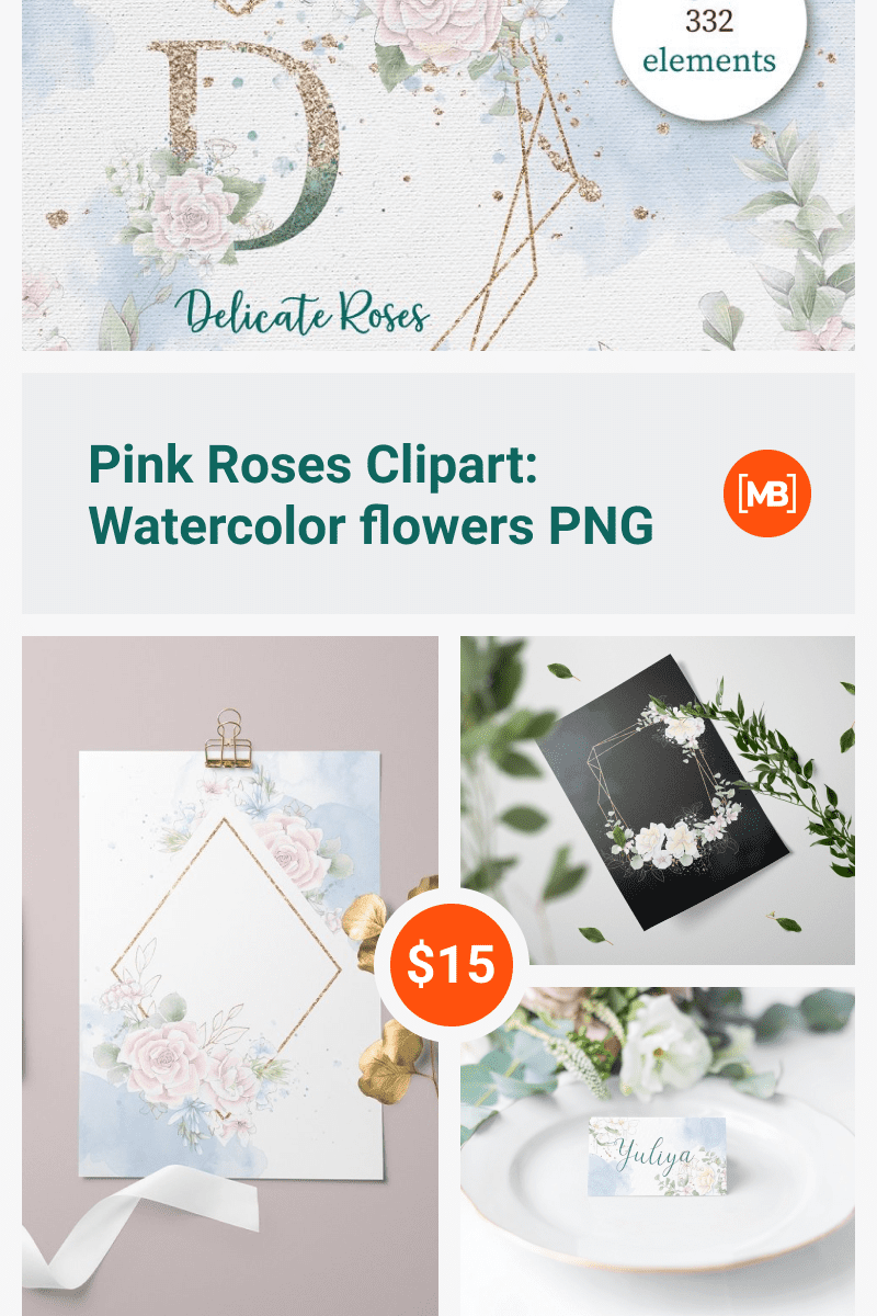 Pink Roses Clipart: Watercolor flowers PNG. Collage Image.