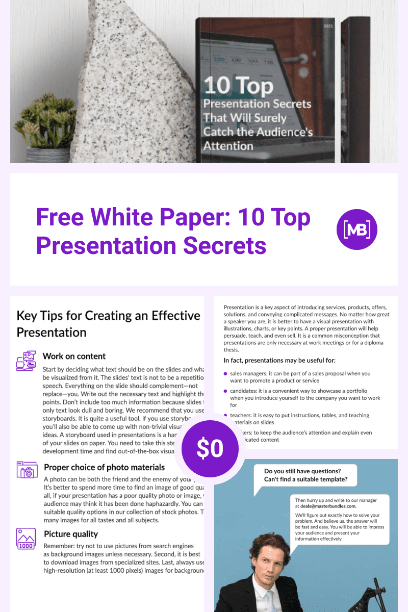 Free White Paper: 10 Top Presentation Secrets. Collage Image for Pinterest.