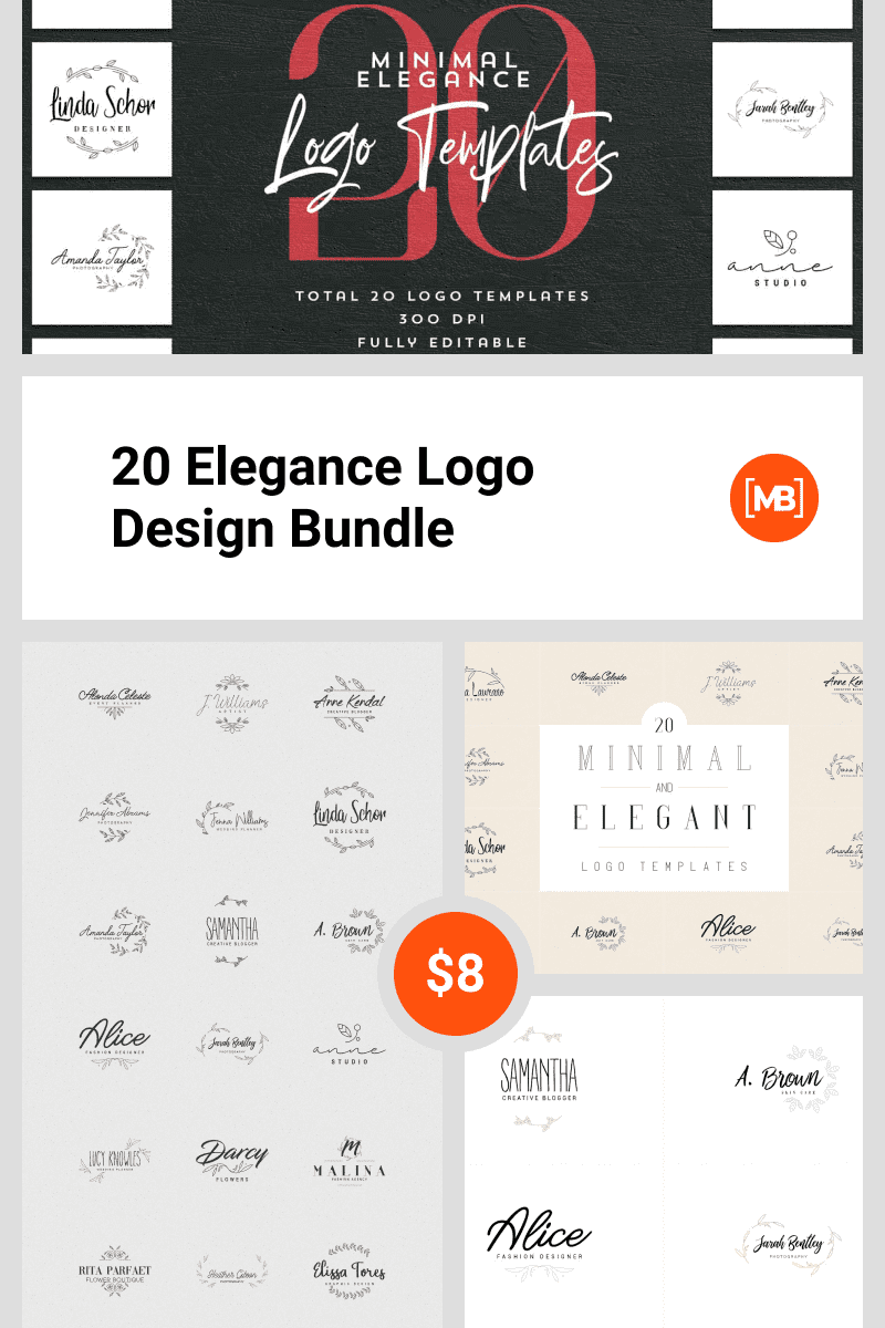 20 Elegance Logo Design Bundle. Collage Image.