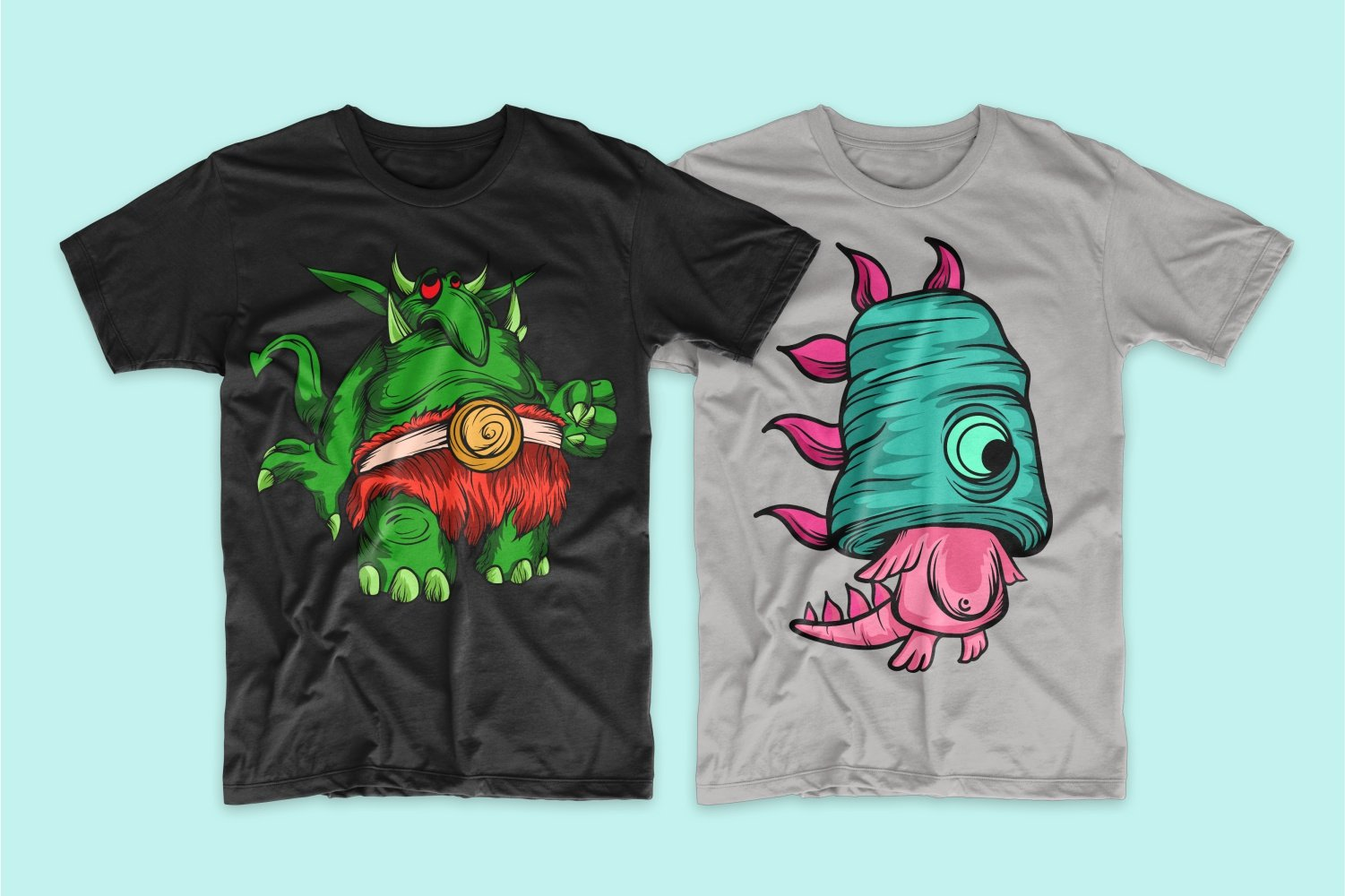 A black T-shirt with a green troll and a gray one with a rectangular head with a pink monster.