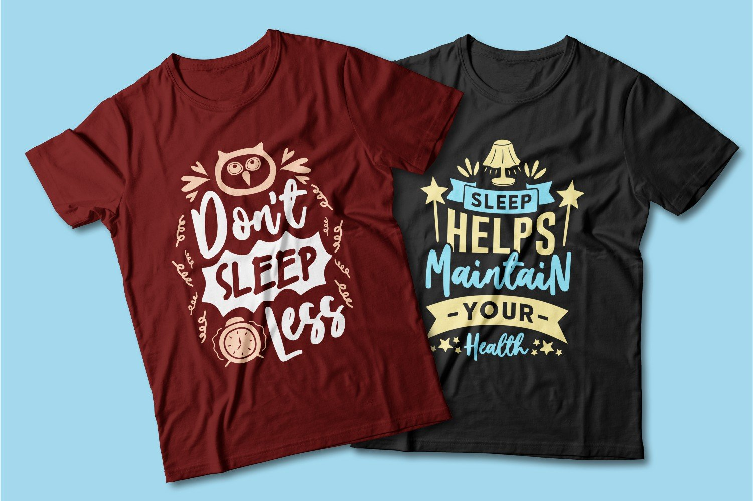 Burgundy and black T-shirts with slogans and watches.