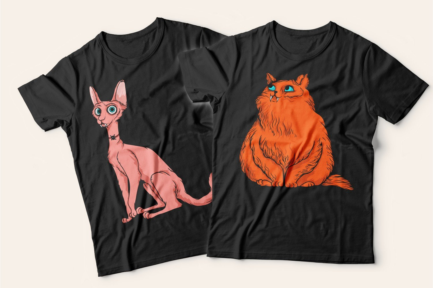 Two T-shirts with cats: one is black with a pink frightened cat, the second is also black with a red fluffy cat.