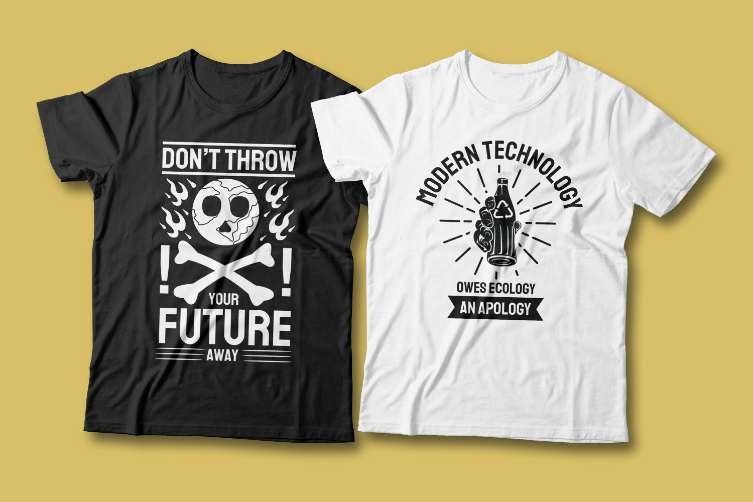 Two T-shirts - white and black. Both are about preserving nature from factories and emissions.