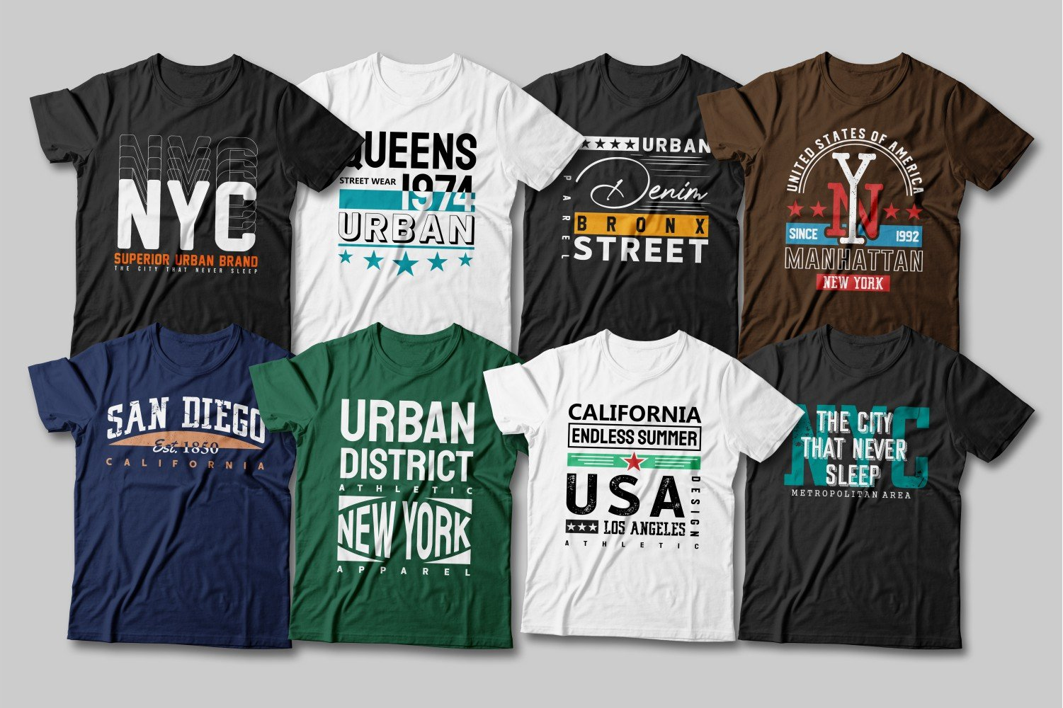 Multicolored T-shirts with a variety of captions from major US cities.
