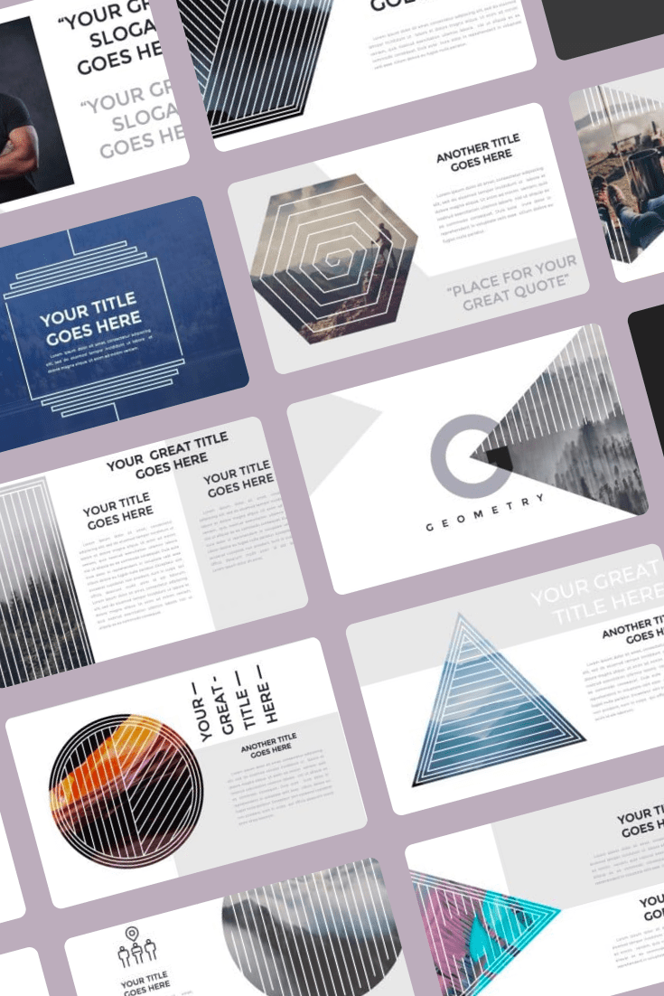 Minimal Geometry Powerpoint Template - $12. Collage Image.