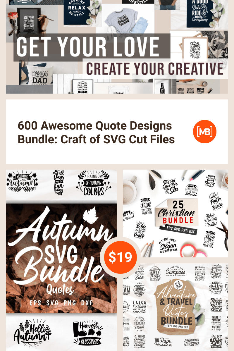 600 Awesome Quote Designs Bundle: Craft of SVG Cut Files. Collage Image for Pinterest.
