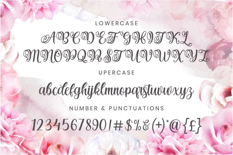 Pink peonies go well with this strong and delicate font.