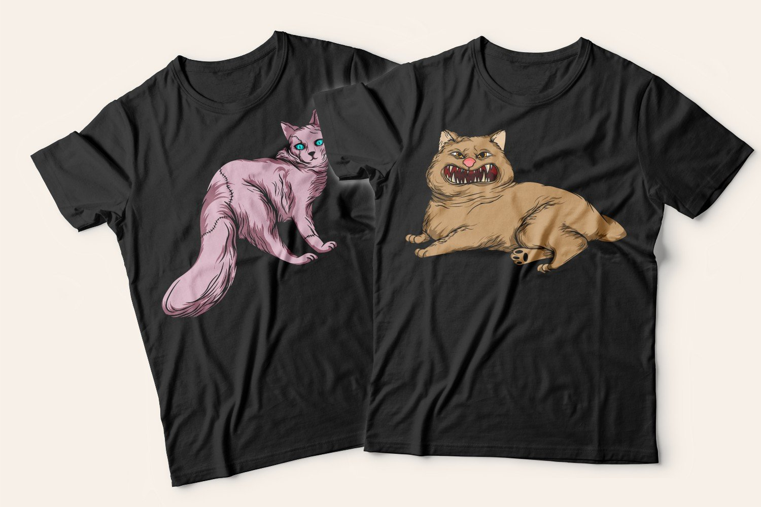 Two black T-shirts with cats: one with a flirty pink cat, the other with an angry beige fluffy cat.