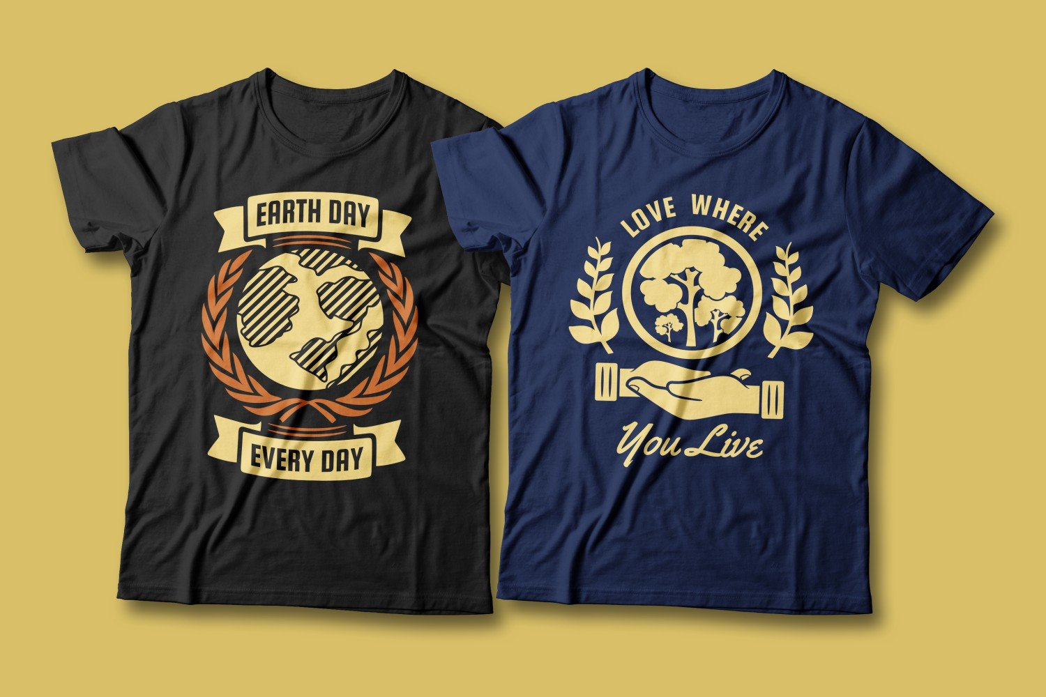 Two T-shirts - blue and black. Both are about the planet and nature conservation.