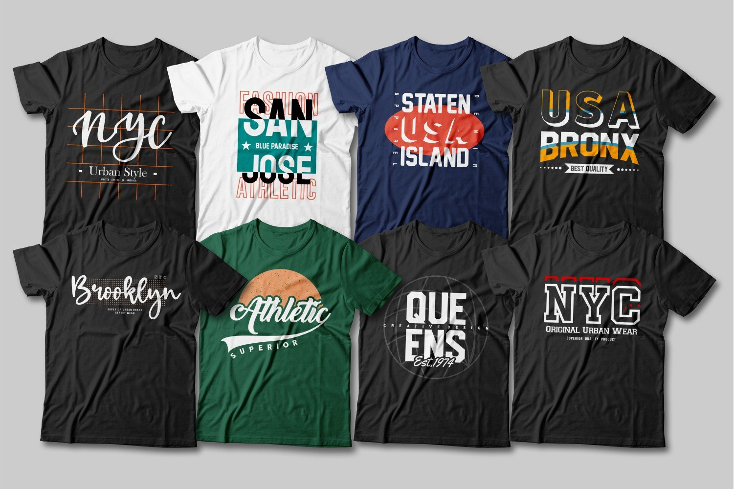 Multicolored jerseys with a variety of American basketball team captions.