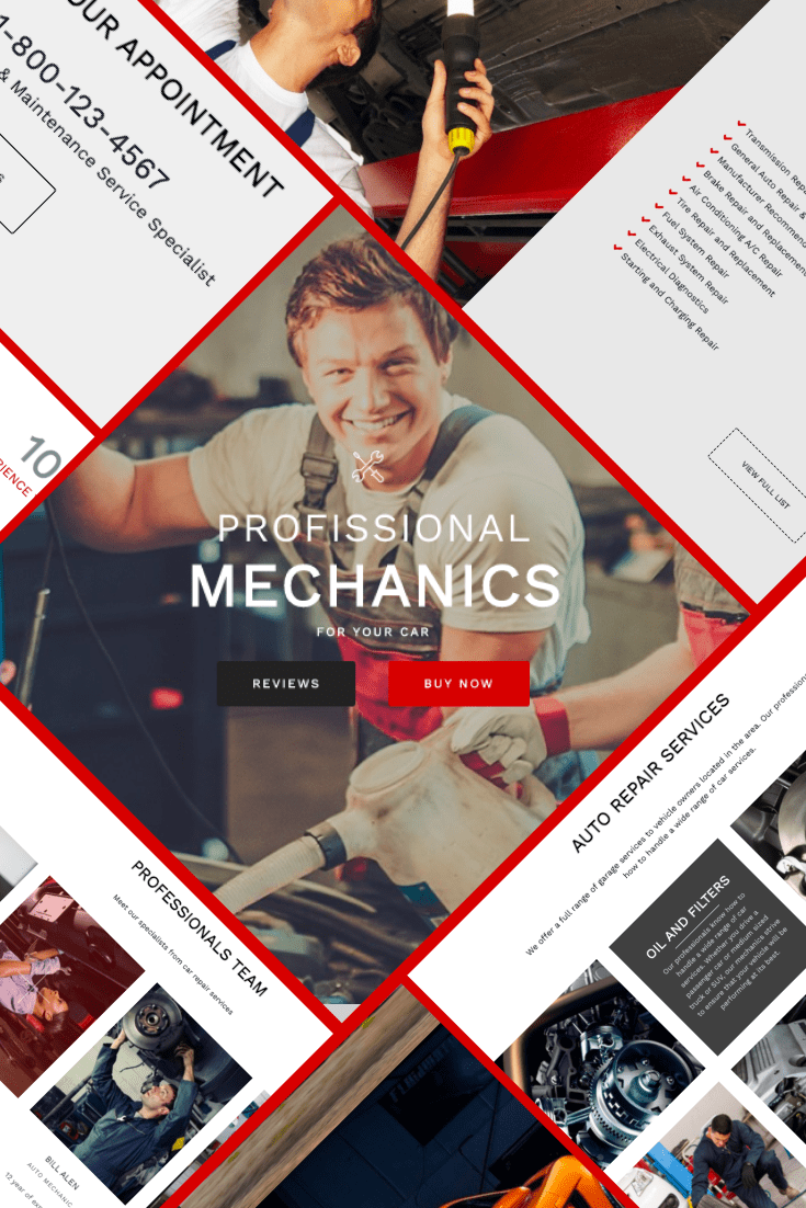 Mechanic WordPress Theme - $25. Collage Image.