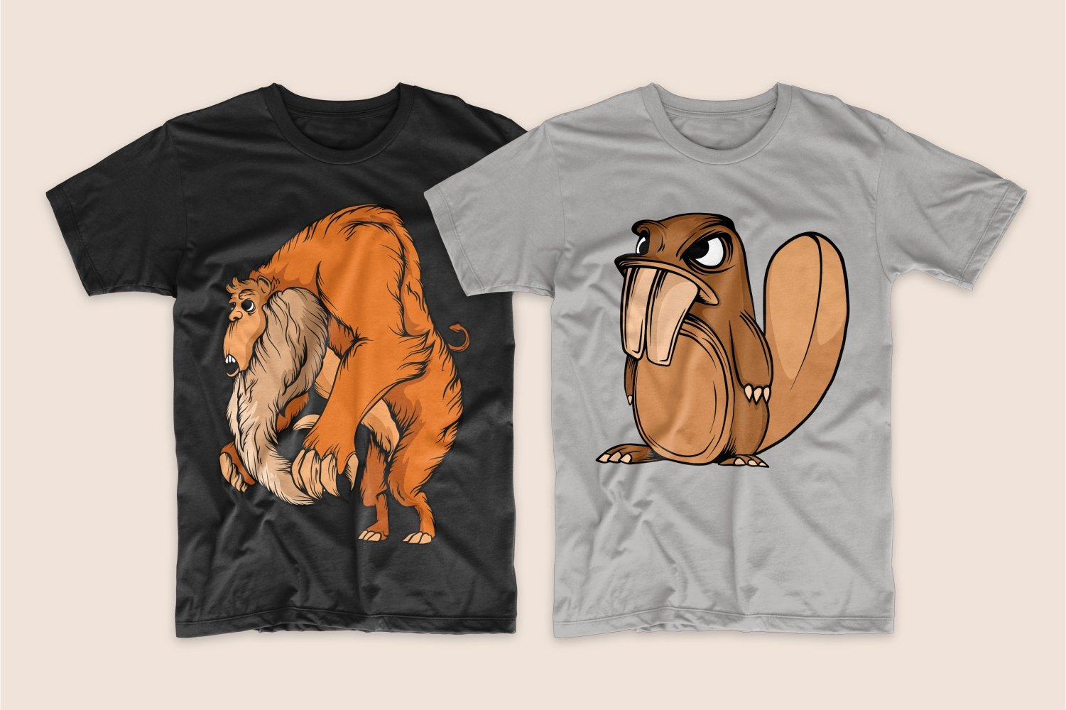 A black T-shirt with a red-haired big monster and a gray one with a beaver.