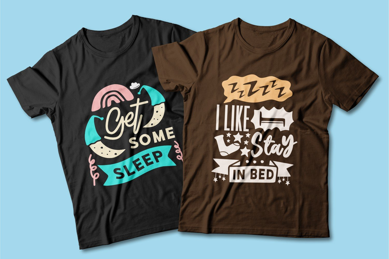 Black and brown T-shirts with sleep elements.