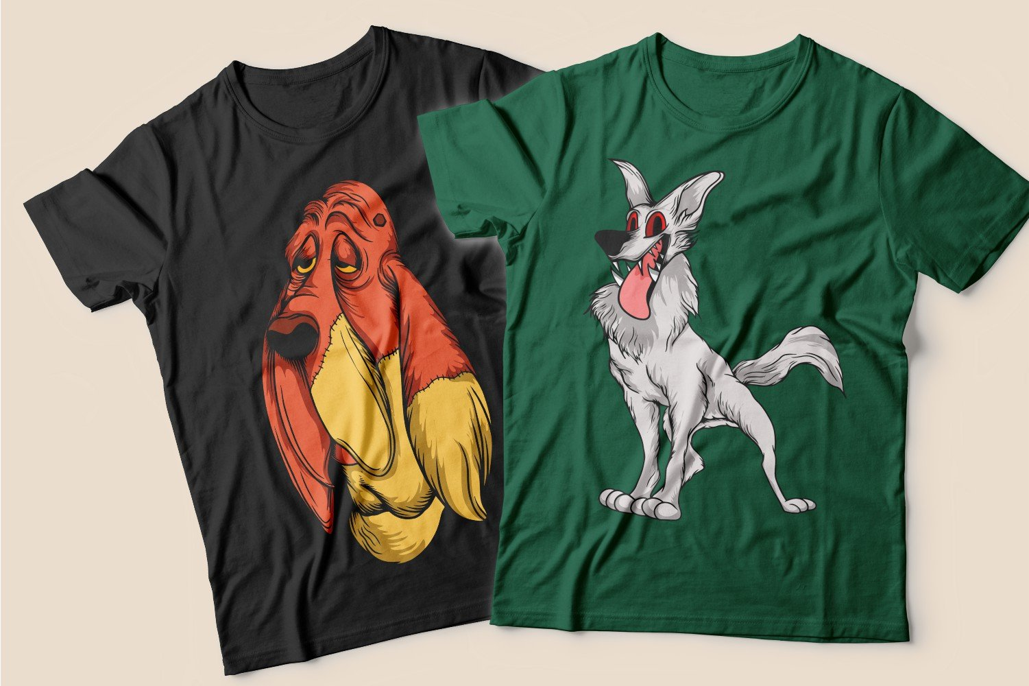 Two T-shirts: one black with a sad two-tone dog and the other green with a gray skinny dog.