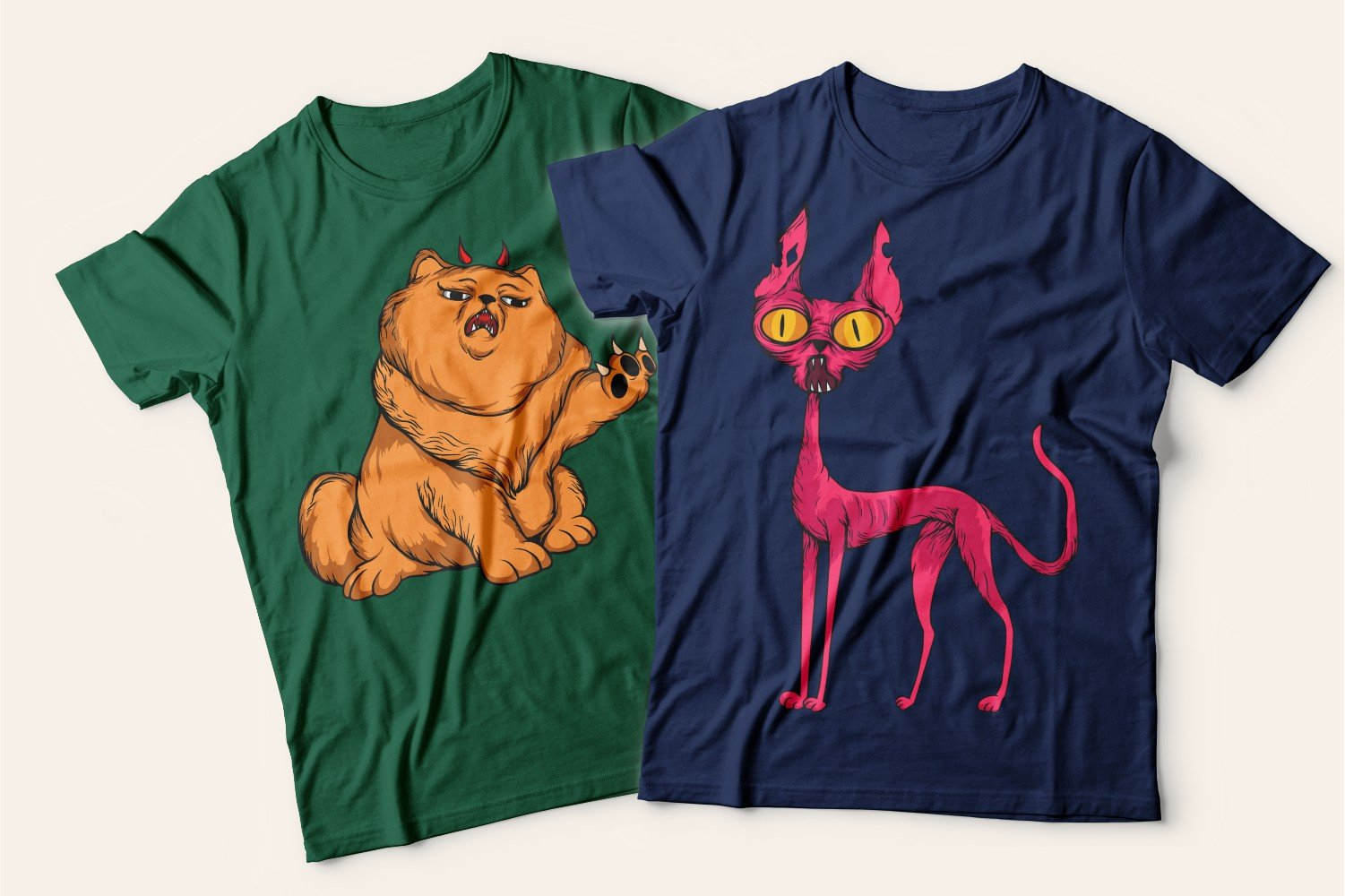Two T-shirts with cats: one green with a gorgeous ginger cat, the other blue with a frightened red cat.