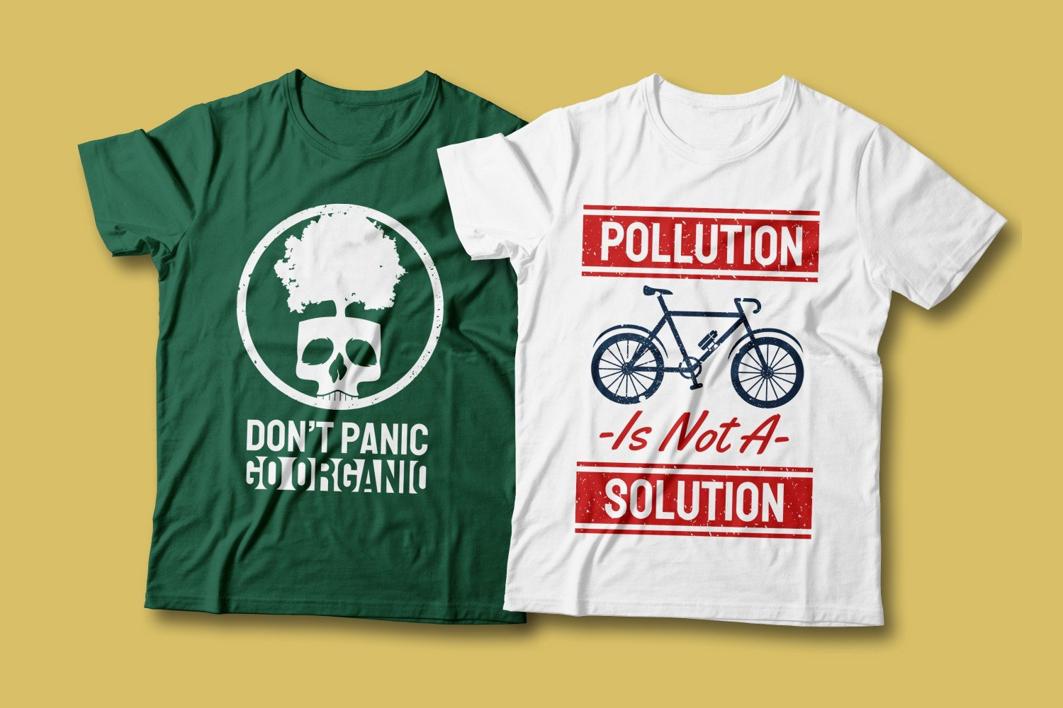 Two T-shirts - white and green. Both are about preserving the environment.