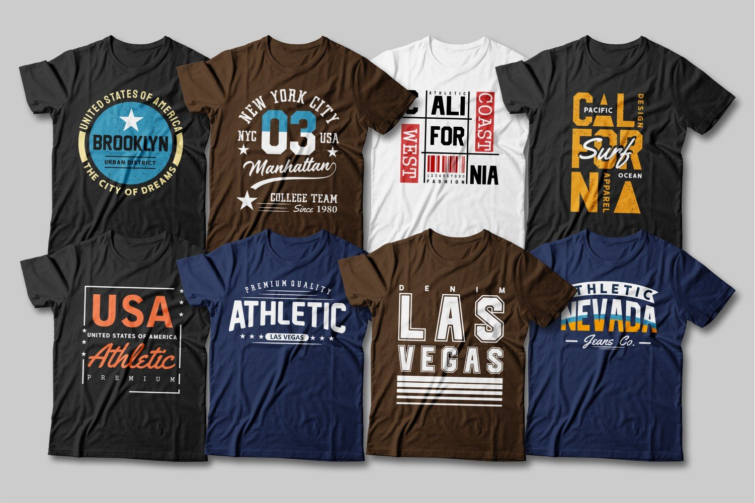 Brown, black and blue tees are at the heart of this collection.
