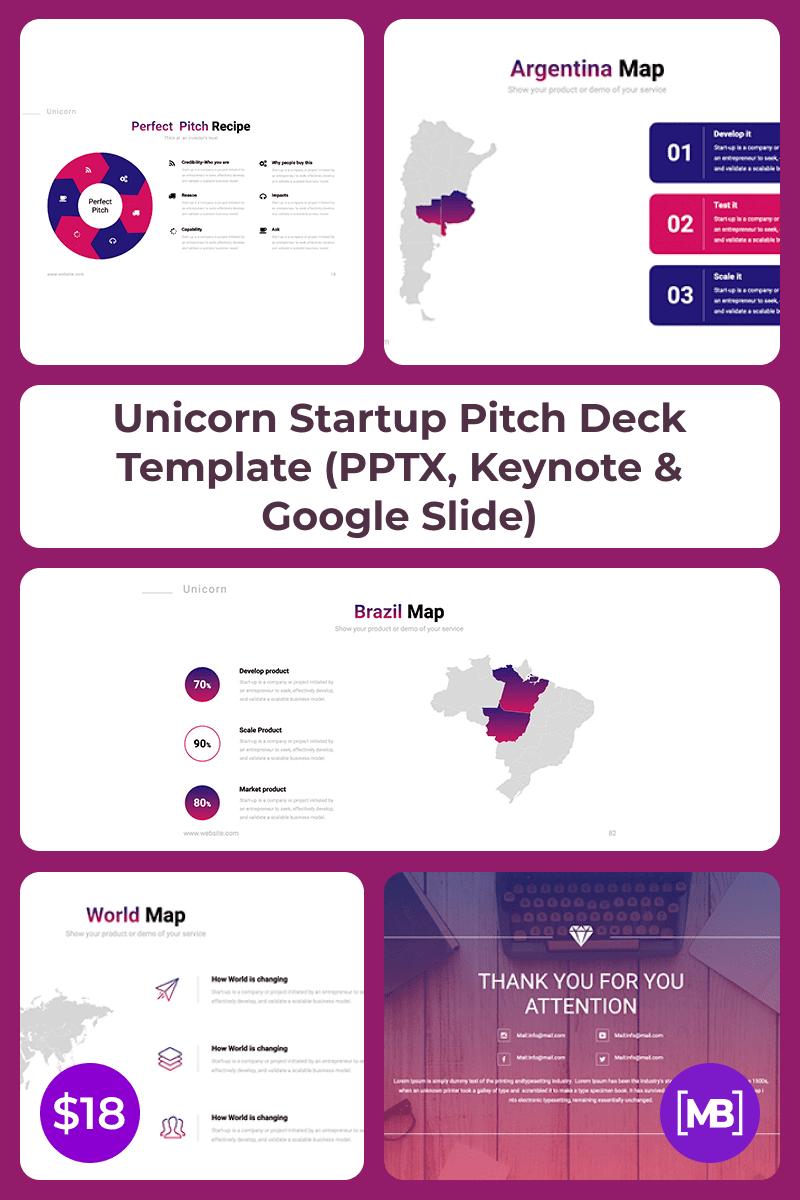 Unicorn Startup Pitch Deck Template (PPTX, Keynote & Google Slide). Collage Image.