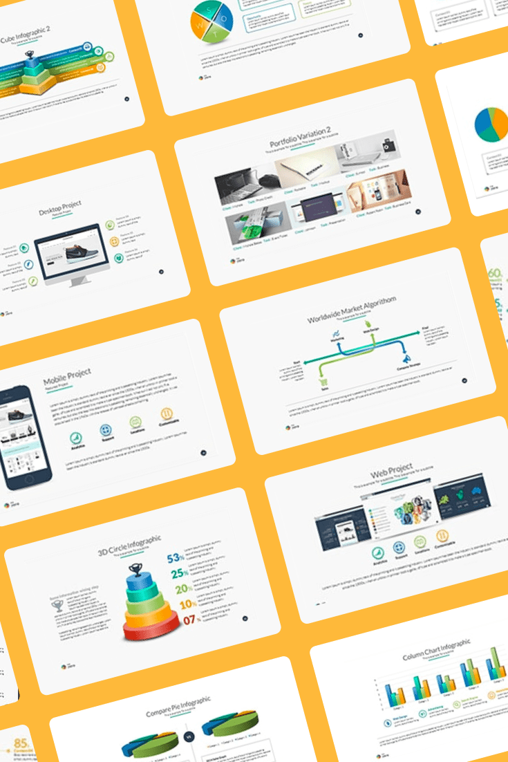 20 Premium PowerPoint and Keynote Templates. Collage Image.