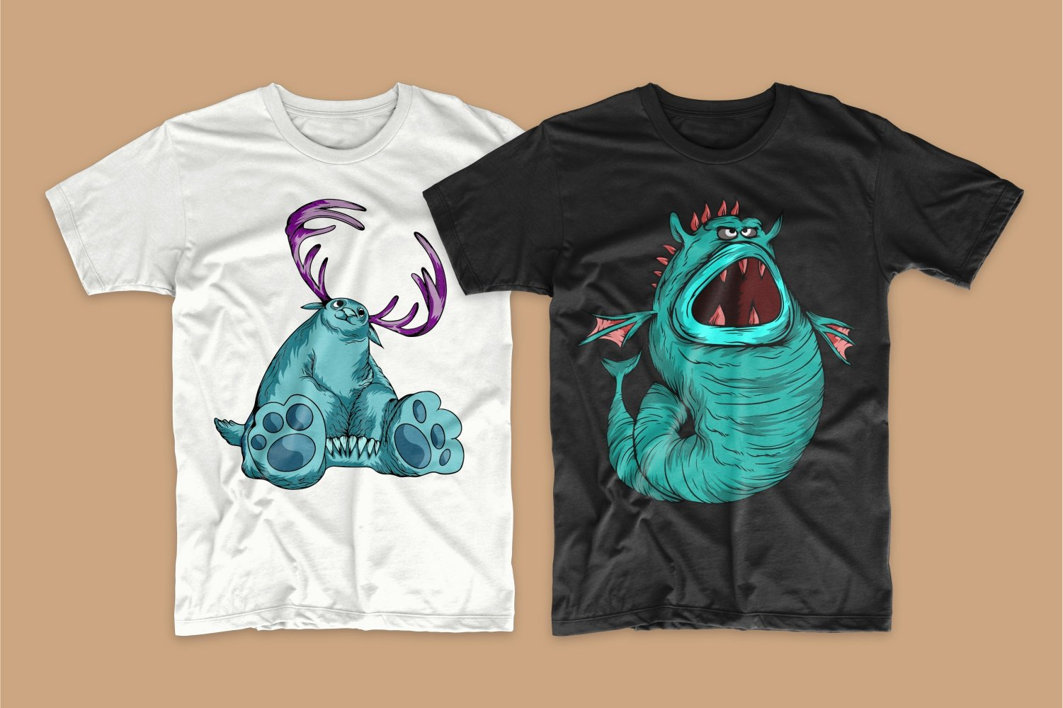 A white T-shirt with a turquoise Loch Ness monster with horns and a black one with a sea monster.