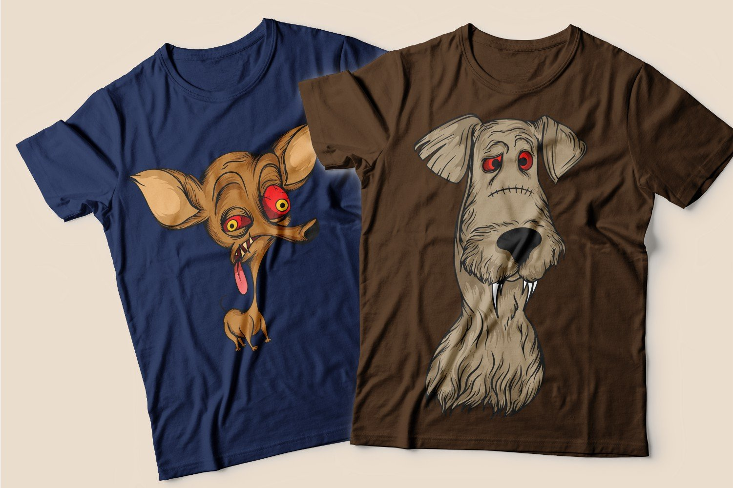 Two T-shirts: one blue with a tired little dog and the other brown with a yard dog.