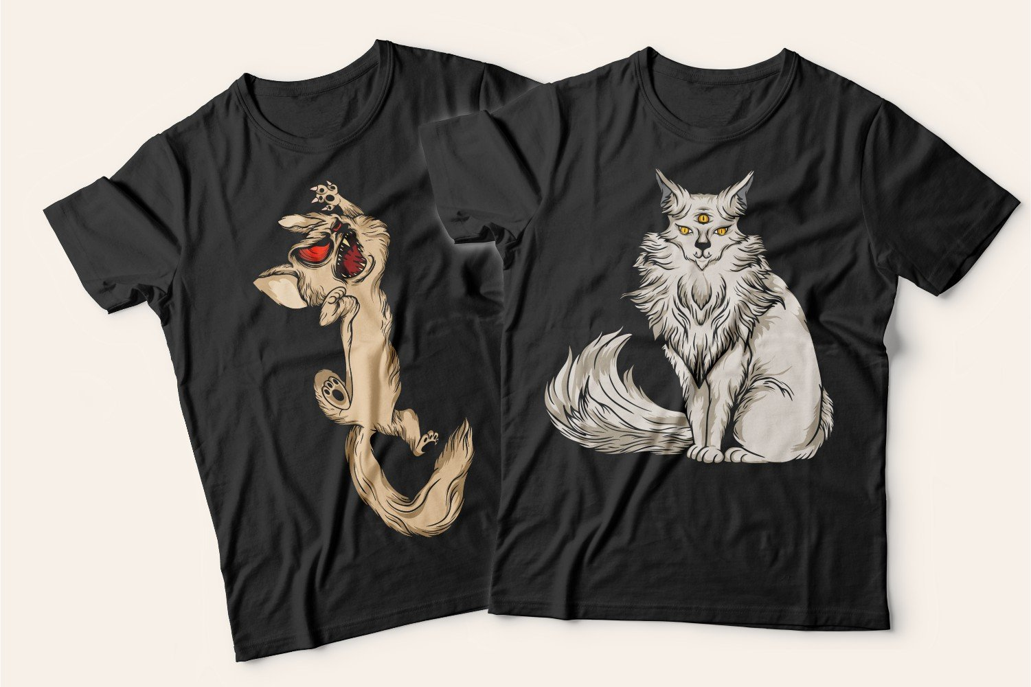 Two black T-shirts with cats: one with a beige angry kitten, the other with a peaceful three-eyed cat.