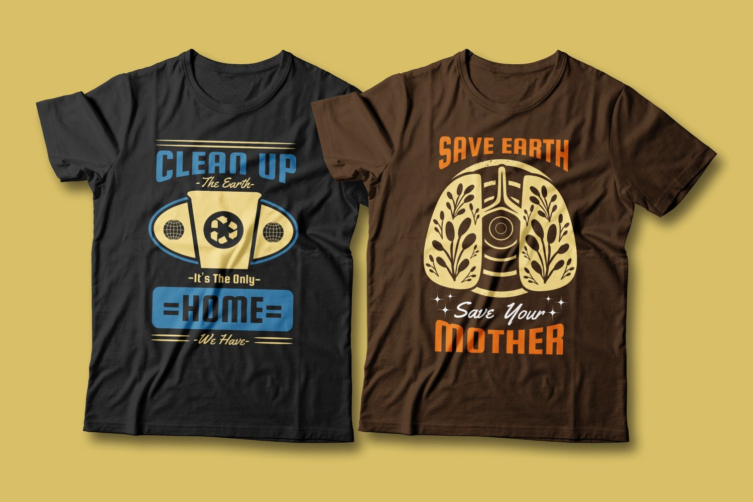 Two T-shirts - blue and brown. Both are about respect for nature.
