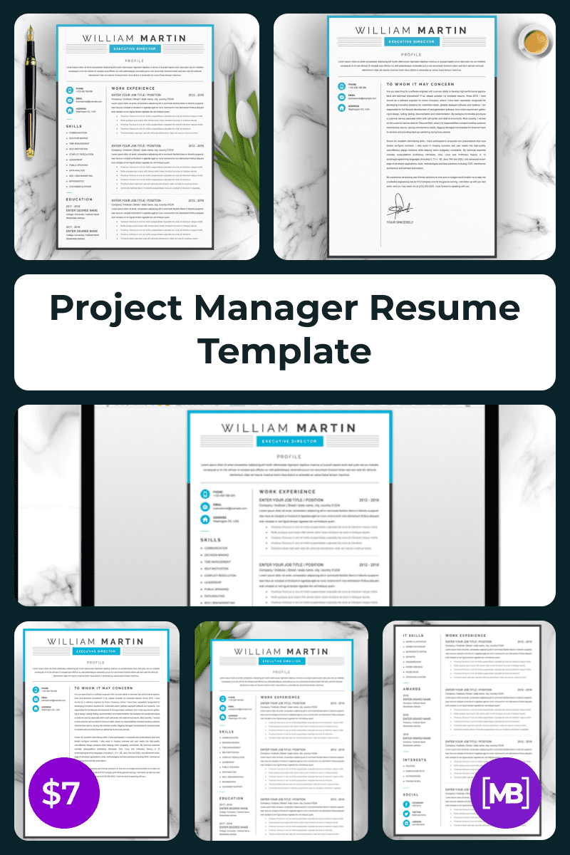 Project Manager Resume Template. Collage Image.