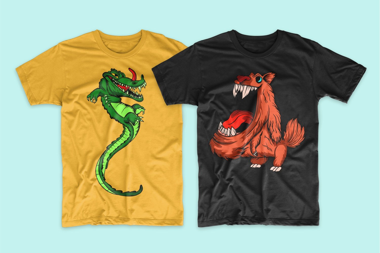 A yellow crocodile t-shirt with a long tail and a black one with a brown very fluffy monster.