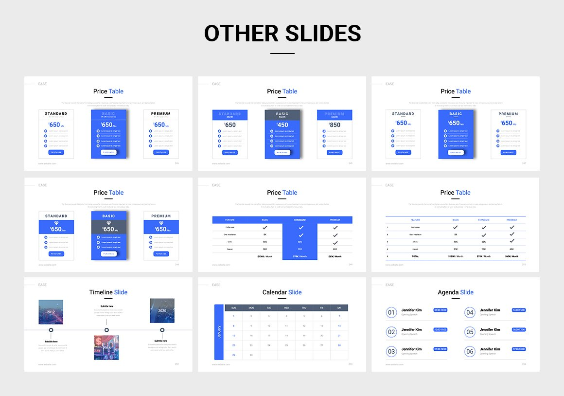 White presentation with blue accents on hover. Here are various price list options.