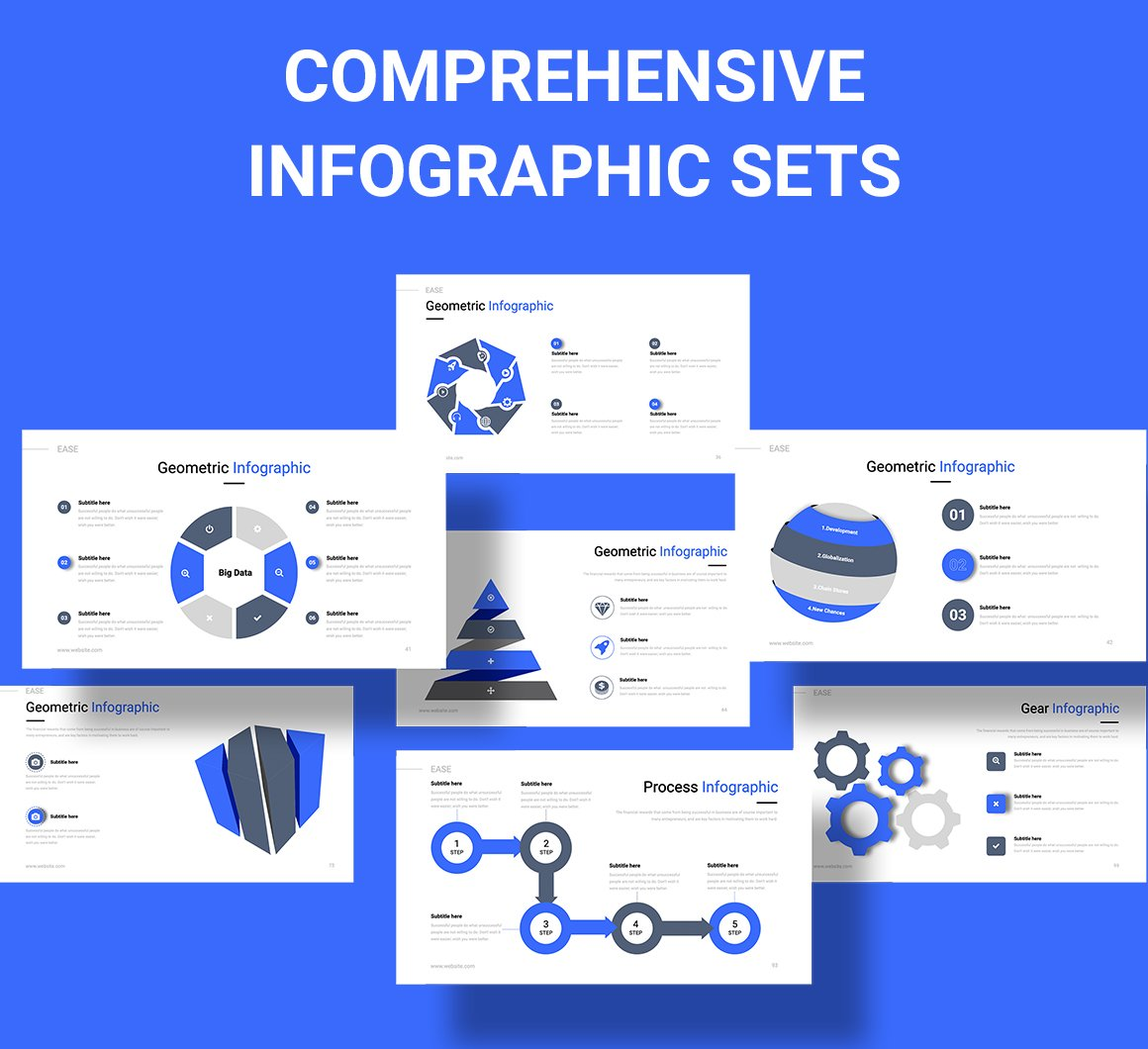 Bright blue slide with different options for infographics.