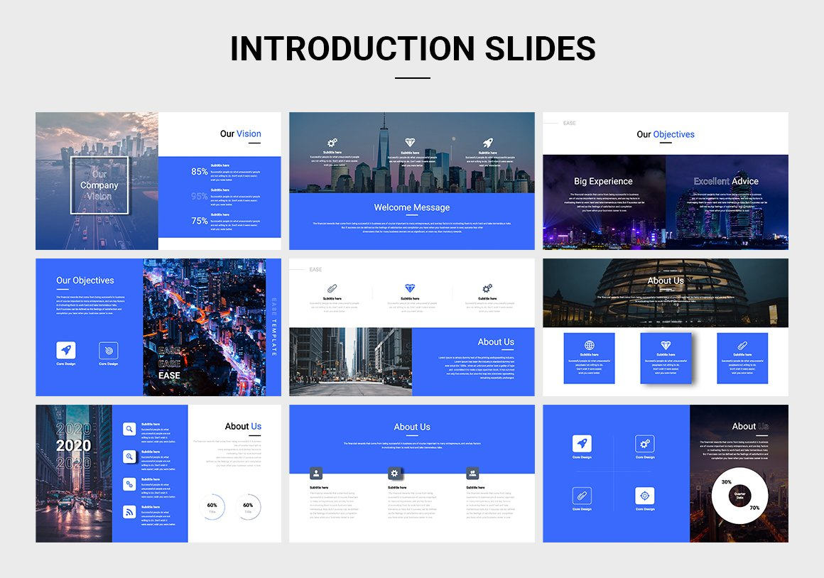 A colorful template that includes all the elements of a successful presentation.