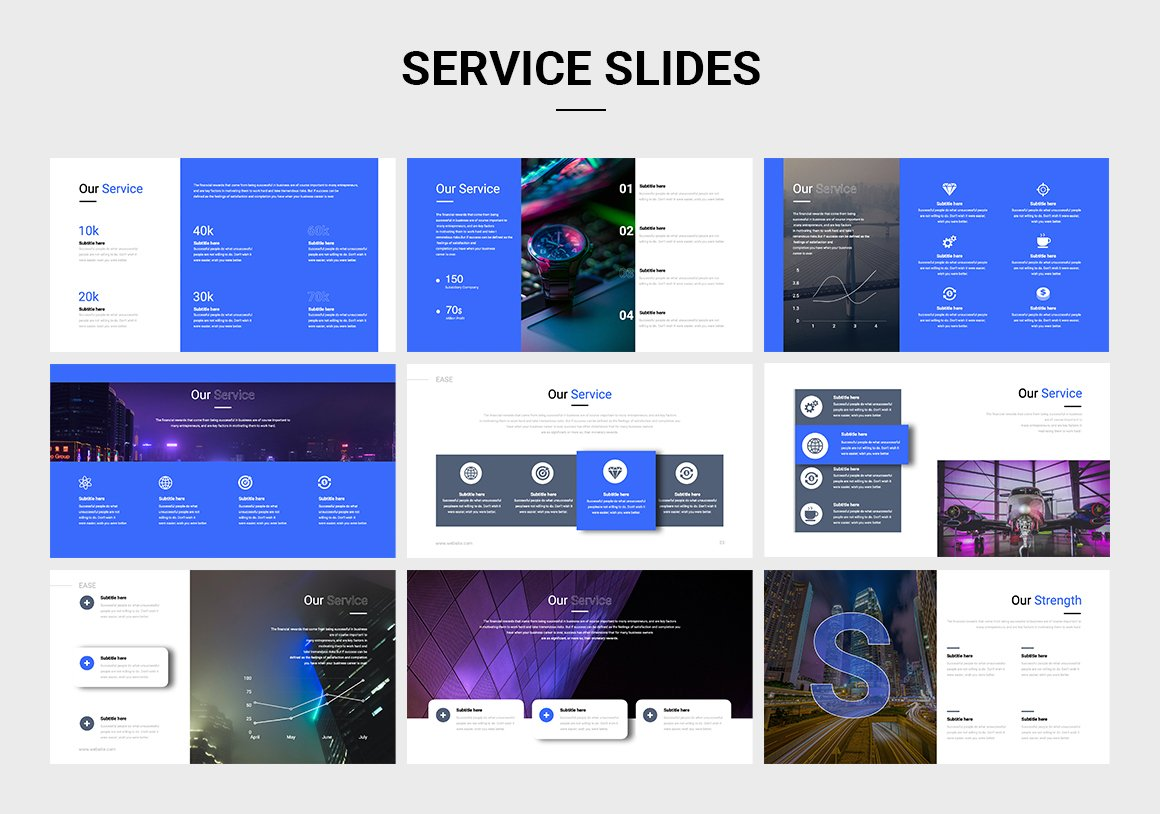 A blue and white presentation with an abundance of graphics and text blocks.