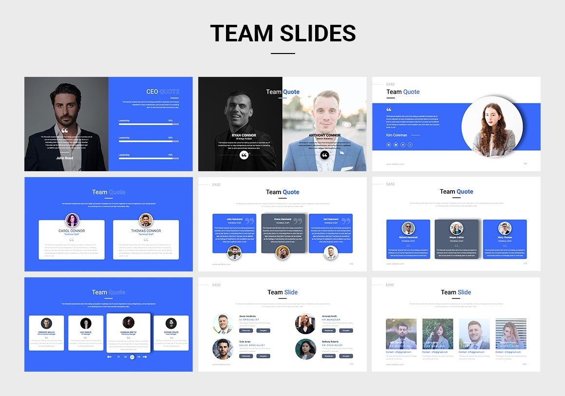 Classic template in blue and white for business.