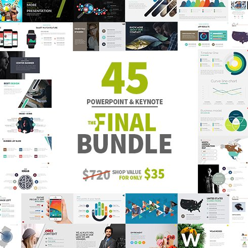 Modern PowerPoint Templates in 2021. Bundle: 44+ Templates - $35. Collage Image.
